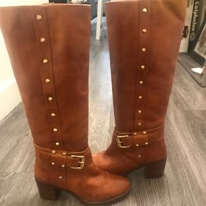 Michael Kors Knee High Boots With Gold Studs